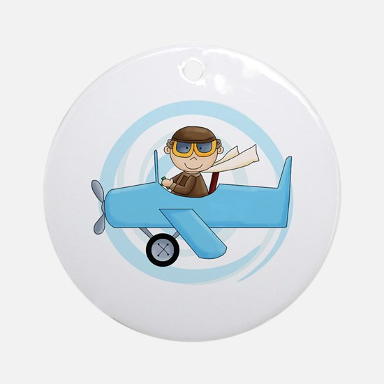 Boy Pilot Ornament (Round)
