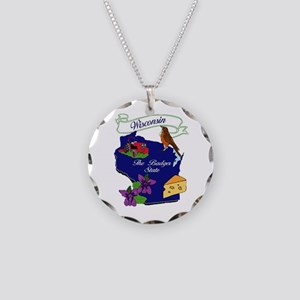 Wisconsin state Necklace Circle Charm