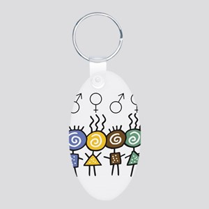 Colorful Foursome Aluminum Oval Keychain