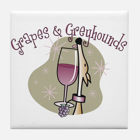 Grapes and Greyhounds Tile Coaster