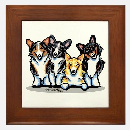 Four Corgis Framed Tile