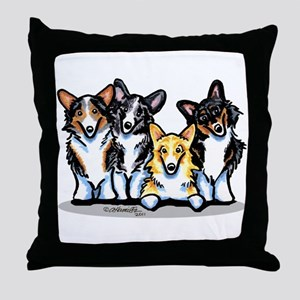 Four Corgis Throw Pillow