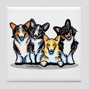 Four Corgis Tile Coaster