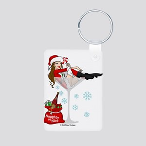 Santa Girl Martini Aluminum Photo Keychain