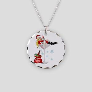 Santa Girl Martini Necklace Circle Charm