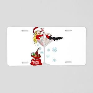 Santa Girl Martini Aluminum License Plate