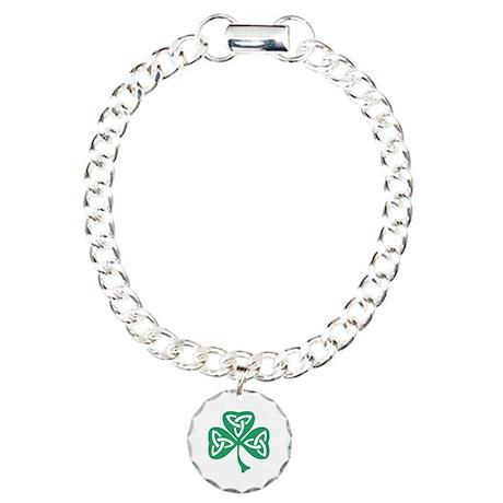Celtic Shamrock Charm Bracelet, One Charm