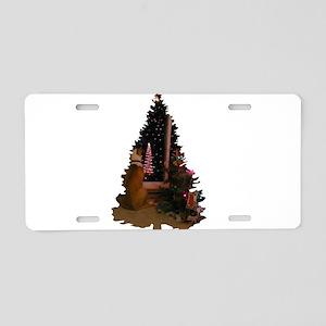 Dog Christmas Tree Aluminum License Plate