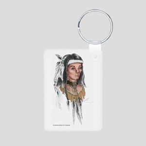Native American Warrior Aluminum Photo Keychain