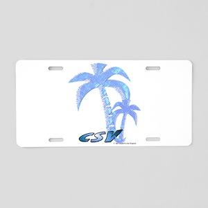 Blue Beach Palm Aluminum License Plate