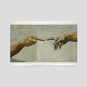 Man-Flips-Off-God Rectangle Magnet