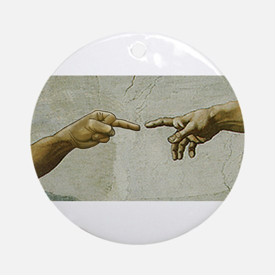 Man-Flips-Off-God Ornament (Round)