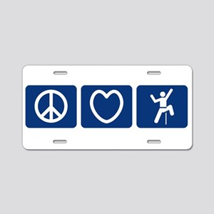 Peace Love Climb Aluminum License Plate