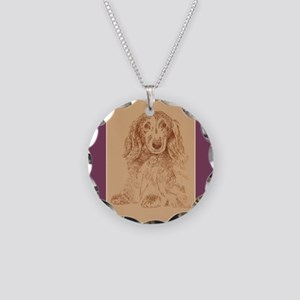 Longhaired Dachshund Necklace Circle Charm