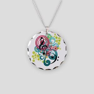 Music Swirl Necklace Circle Charm
