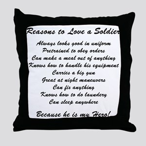 Reasons to Love a Soldier Throw Pillow