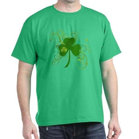 St Paddys Day Fancy Shamrock Dark T-Shirt
