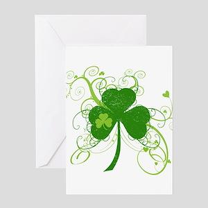 St Paddys Day Fancy Shamrock Greeting Card