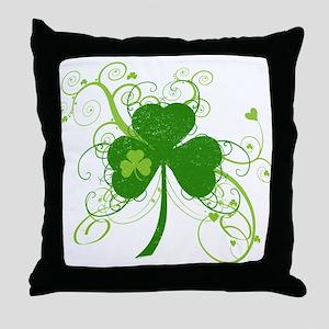 St Paddys Day Fancy Shamrock Throw Pillow