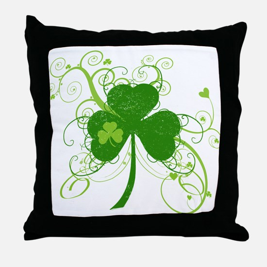 St Paddys Day Fancy Shamrock Throw Pillow