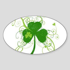 St Paddys Day Fancy Shamrock Sticker (Oval)