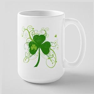St Paddys Day Fancy Shamrock Large Mug