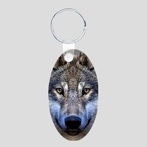 Wolf Aluminum Oval Keychain