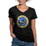 USS CHARLOTTE Women's V-Neck Dark T-Shirt