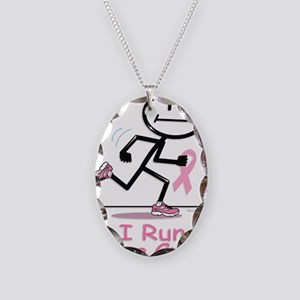 Breast Cancer Run Necklace Oval Charm