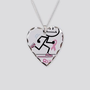 Breast Cancer Run Necklace Heart Charm