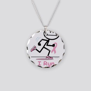 Breast Cancer Run Necklace Circle Charm