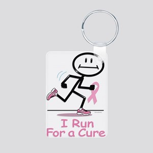 Breast Cancer Run Aluminum Photo Keychain