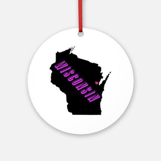 Wisconsin Purple Ornament (Round)