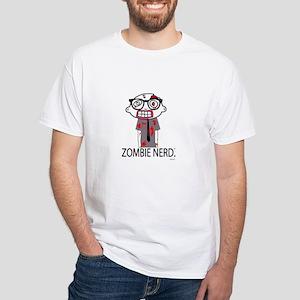 Zombie Nerd. with Body. White T-Shirt