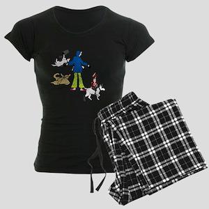 Walking Flyball Dogs Women's Dark Pajamas