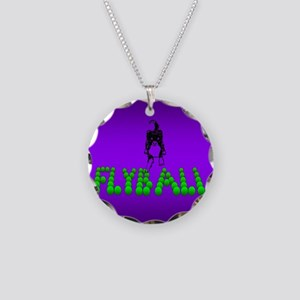 Flyball Dog with background Necklace Circle Charm