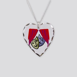 COMEDY & TRAGEDY MASKS Necklace Heart Charm