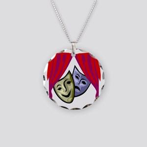 COMEDY & TRAGEDY MASKS Necklace Circle Charm