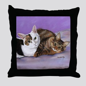 Cat and Kitten Throw Pillow