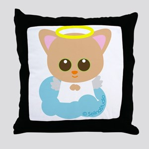 """Kitty Angel"" Throw Pillow"