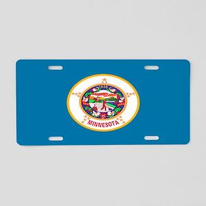 """""""Minnesota Flag"""" Aluminum License Plate"""
