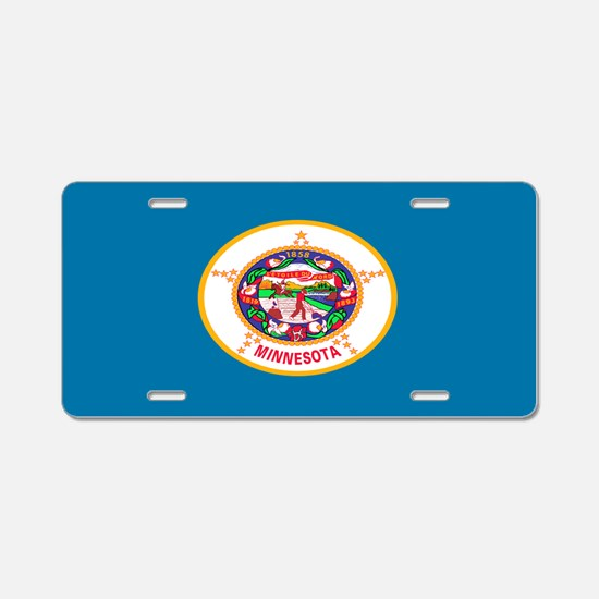 """Minnesota Flag"" Aluminum License Plate"