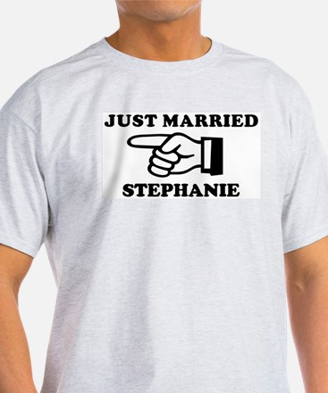 Just Married Stephanie Ash Grey T-Shirt
