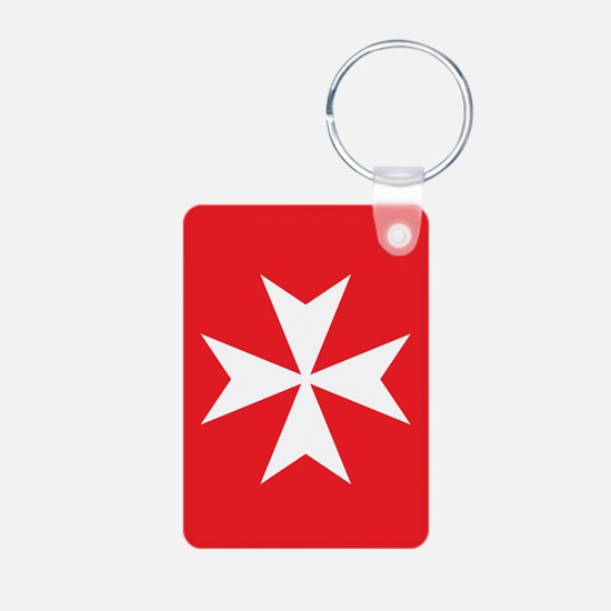 White Maltese Cross Aluminum Photo Keychains