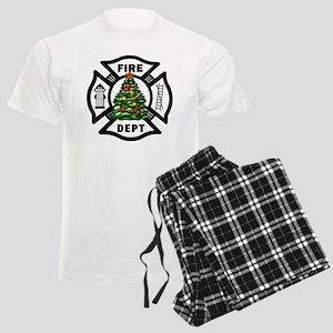 Firefighter Christmas Tree Men's Light Pajamas