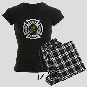 Fire Dept Christmas Women's Dark Pajamas