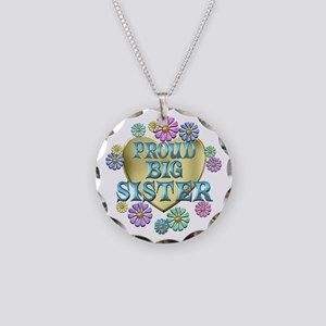 Proud Big Sister Necklace Circle Charm
