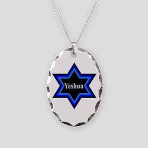 Yeshua Star of David Necklace Oval Charm