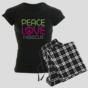 Peace Love Hibiscus Women's Dark Pajamas