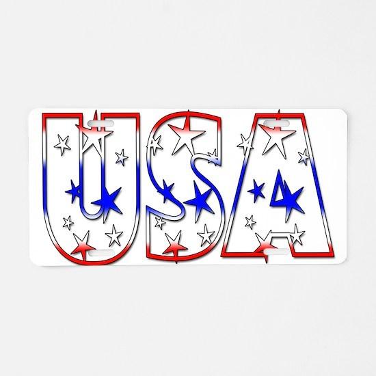 USA red white blue stars Aluminum License Plate
